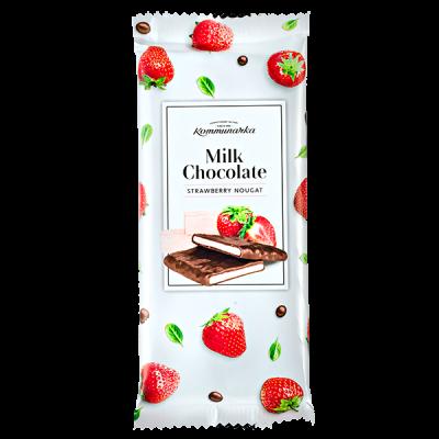 шоколад Коммунарка Молочный STRAWBERRY NOUGAT 85 г 1 уп.х 20 шт.