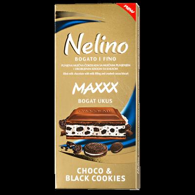 шоколад Nelino Choco & Black Cookies 80 г 1уп.х 40шт