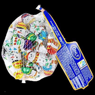 шоколад НГ ONLY Снеговики в сетке 100 г 1 уп.х 22 шт.