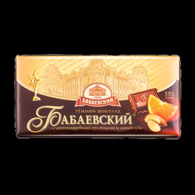 шоколад Бабаевский Темный с  Апельсиновыми кусочками и Миндалем 100 г 1уп.х 17шт.