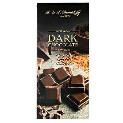 шоколад A&A Demidoff DARK 72% 100 г 1 уп.х 12 шт.