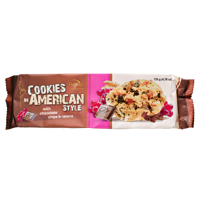 печенье Bogutti AMERICAN STYLE шоколадная крошка/изюм 135 г 1 уп.х 18 шт.