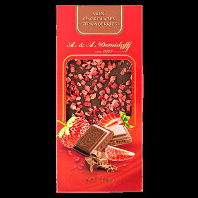 шоколад A&A Demidoff Молочный с клубникой 90 г 1 уп.х 10 шт.